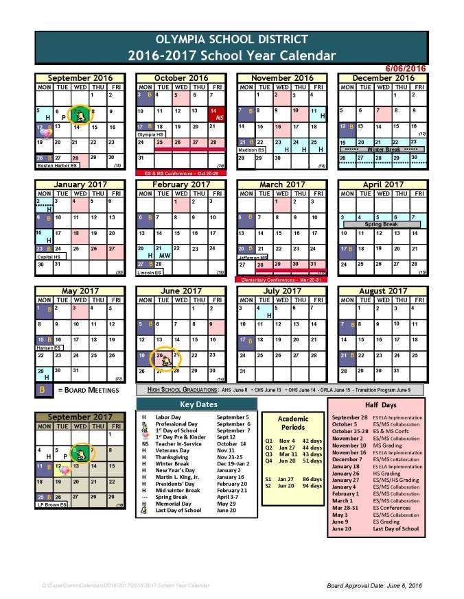 2016-17 calendar is online! | Here's The Scoop