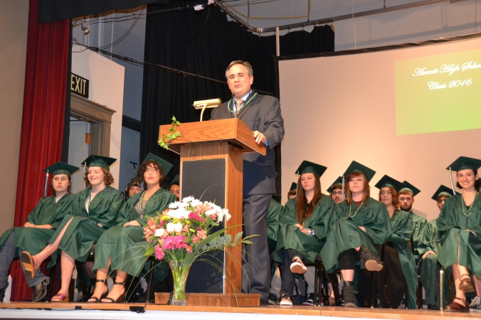 Avanti HS Graduation 2016 Principal speaks to audience