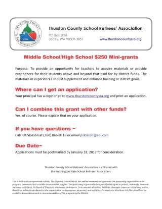 Mini-grant information