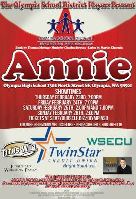 Poster of Annie musical with showtimes listed