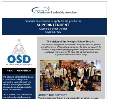 Image of Northwest Leadership Associates position announcement for OSD Superintendent.
