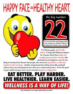 February Wellness Newsletter front page Happy Face = Healthy Heart