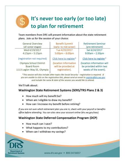 Flier announcing DRS retirement seminars showing listing of topics covered