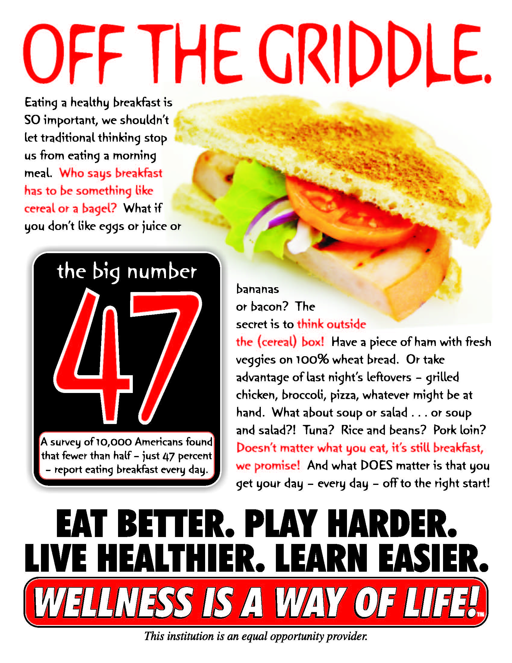 Image of grilled breakfast sandwich to support article about the benefits of eating a healthy breakfast.