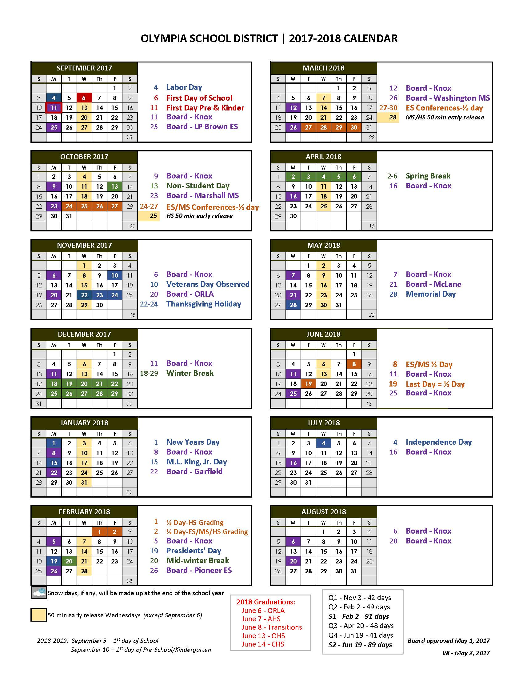 Olympia School District Calendar.It S Here The 2017 18 District Calendar Here S The Scoop