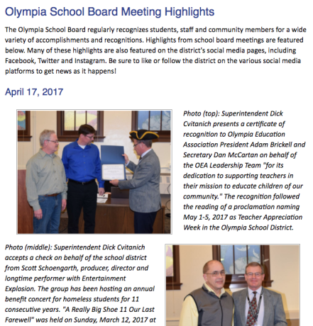 Screenshot of district Web page featuring highlights from school board meetings