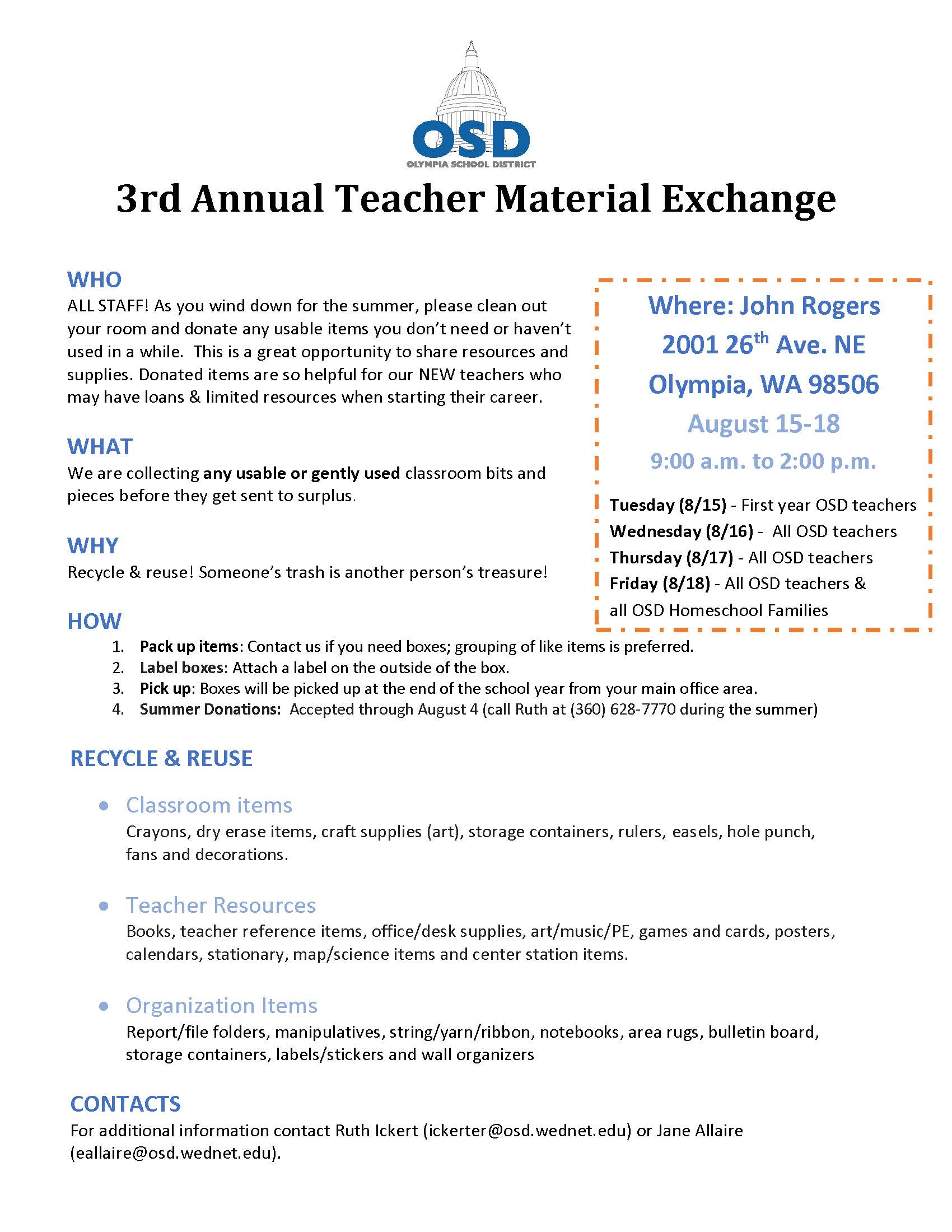 Donate items for this year\'s Teacher Material Exchange | Here\'s The ...