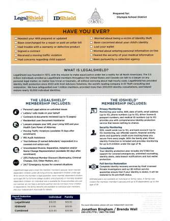 Flier outlining benefits of LegalShield and ID Shield