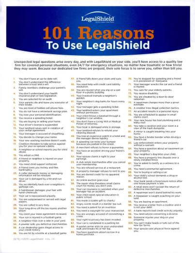 Flier listing 101 Reasons to Use LegalShield