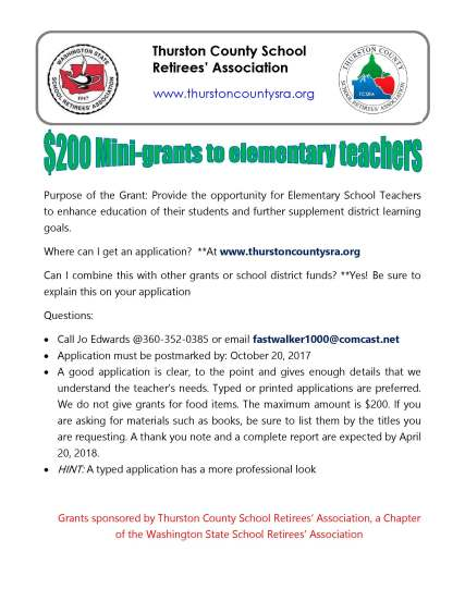 Information about $200 mini-grants for elementary teachers