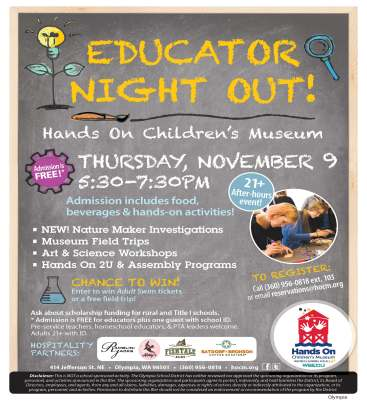 Educator Night Out information for Hands On Children's Museum event November 9