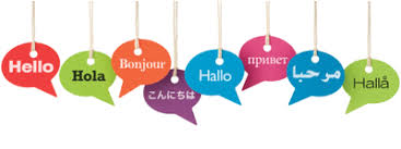 Hello in different languages on labels hanging from string