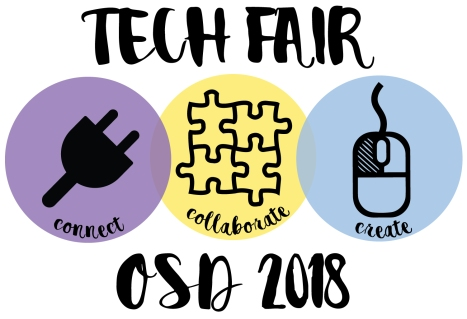 Student winning graphic for 4th Annual Tech Fair with words Connect Collaborate and Create