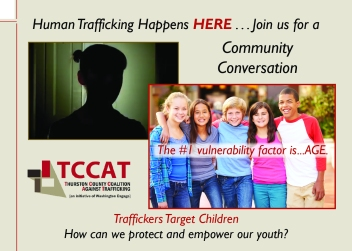 Postcard invitation to community conversation about the prevention of human trafficking. Postcard shows images of students and sponsored by Thurston County Coalition Against Trafficking