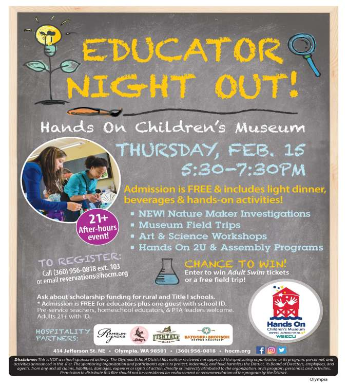 Educator Night Out flier including location at Children's Museum, time and details