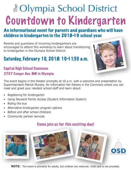 Countdown to Kindergarten flier with photos and information