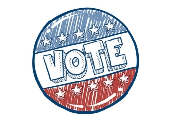 Red, white and blue VOTE logo with stars