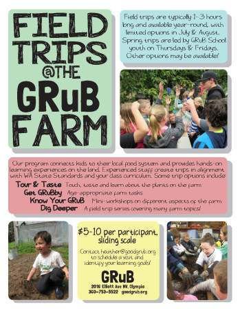 Flier advertising field trips at the GRuB Farm this spring and summer.