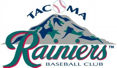 Tacoma Rainiers Baseball Club Logo, featuring Mt. Rainier and a baseball for the O in Tacoma