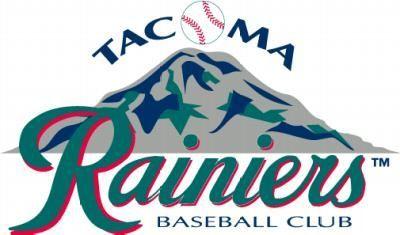 Tacoma Rainiers Baseball Club Logo, featuring Mt. Rainier and a baseball for the O in Tacoma
