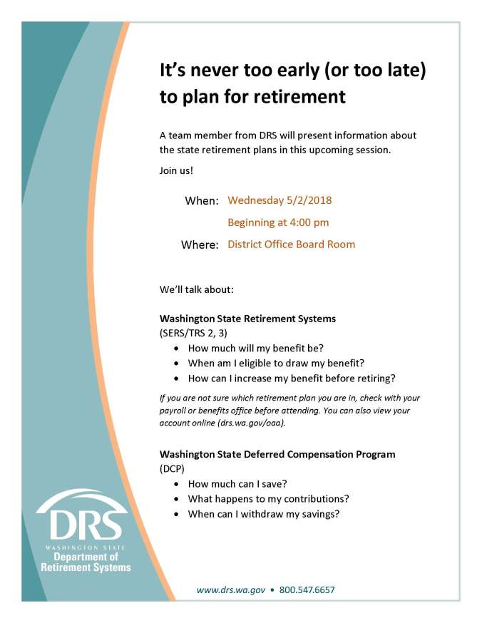 DRS flier about retirement planning announcing workshop at OSD