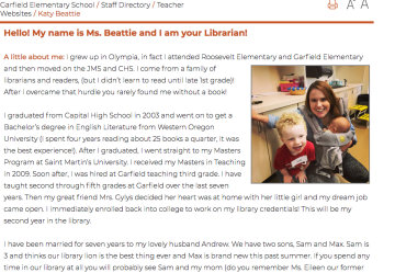Photo of Ms. Beattie's About Me page  at Garfield Elementary showing photo and text
