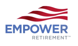 """Empower Retirement"" logo with red stripes and red, white and blue colors"