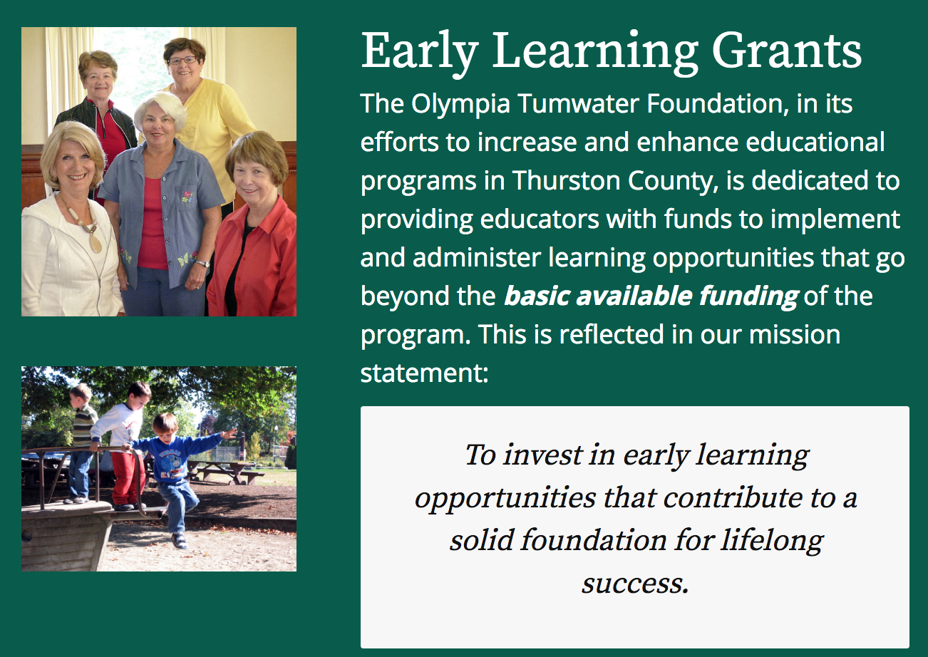 Olympia Tumwater Foundation invites early learning grant