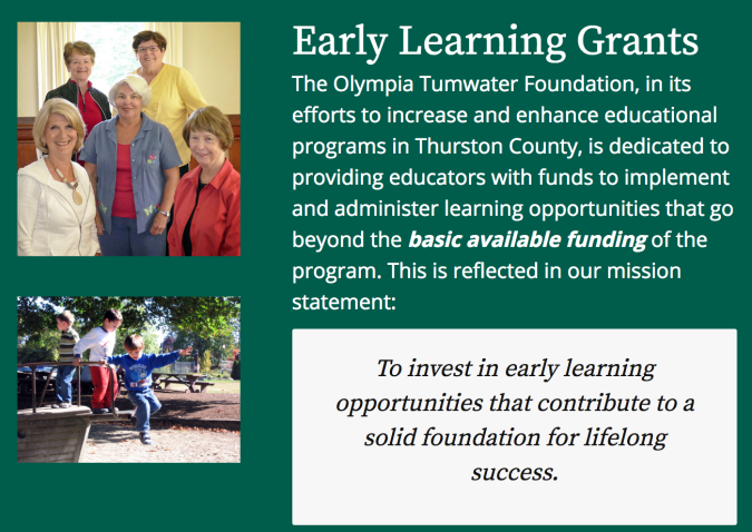 Olympia Tumwater Foundation Web page announcement inviting early learning grant applictions. Site includes photos of five women and some children playing on a playground.