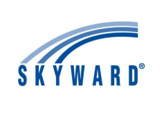 SKYWARD words with curves lines above it for company logo