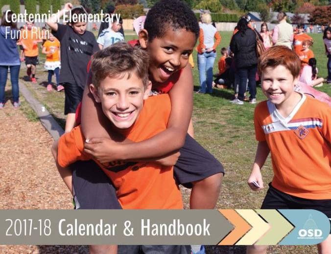 Front cover photo of 2017-18 school district calendar and handbook