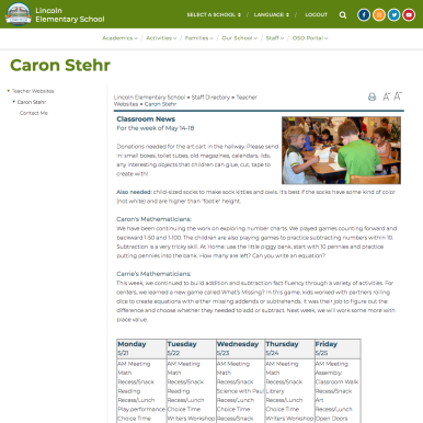 Lincoln Teacher Caron Stehr's Web page on the SchoolMessenger website