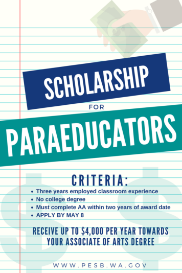 Information on sheet of binder paper graphic about Scholarship for Paraeducators