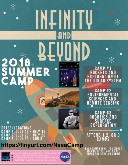 Infinity and Beyond flier for 2018 Summer Camp at OHS, shows photos of rockets and person in space suit and information about three summer camps