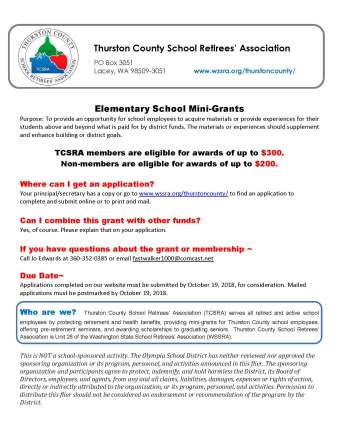 Thurston County School Retirees Association elementary school mini-grants explanation sheet
