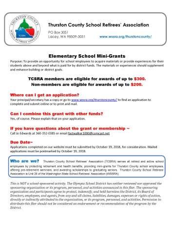 Thurston County School Retirees Association elementary school mini-grants explanation sheet