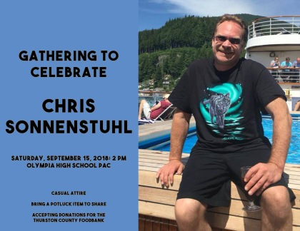 Photo and text about gathering to celebrate Chris Sonnenstuhl.