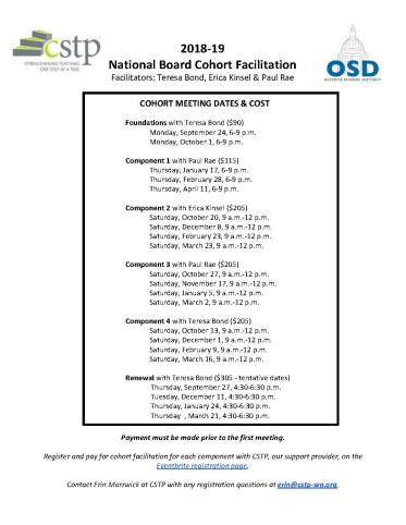 National Board Cohort Facilitation dates and cost list for interested teachers and counselors