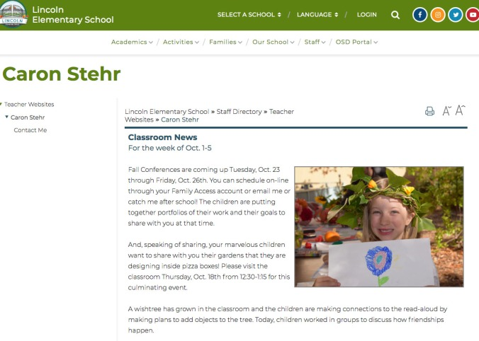 Caron Stehr webpage example showing classroom news for the week of Oct 1-5 and a photo of a student at the school's Harvest Festival