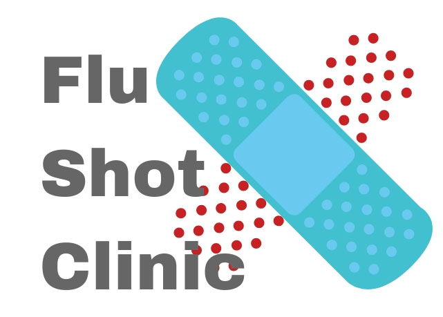 Image of bandaid and the words Flu Shot Clinic to support an article about district flu shot clinics