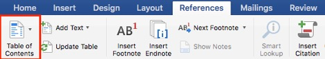 Microsoft Word screenshot. The References ribbon is active and Table of Contents is highlighted.