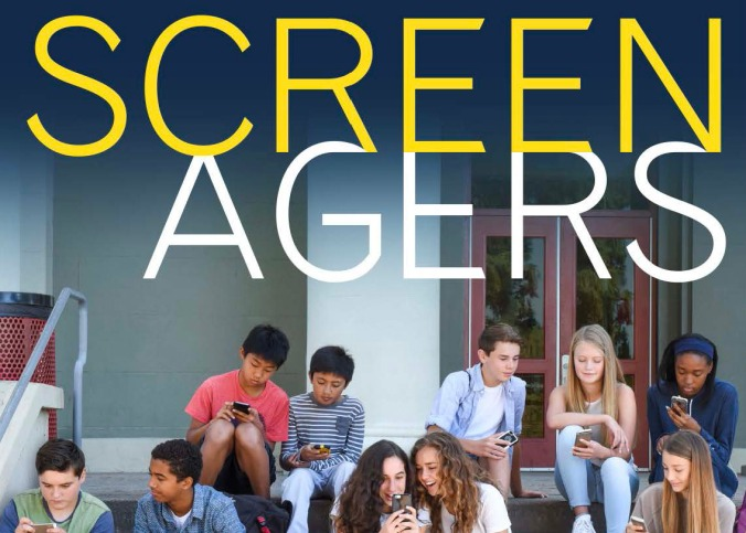 "A group of about a dozen teenagers sit on the steps in front of a school looking down at mobile phones. The headline above them says ""Screenagers"""