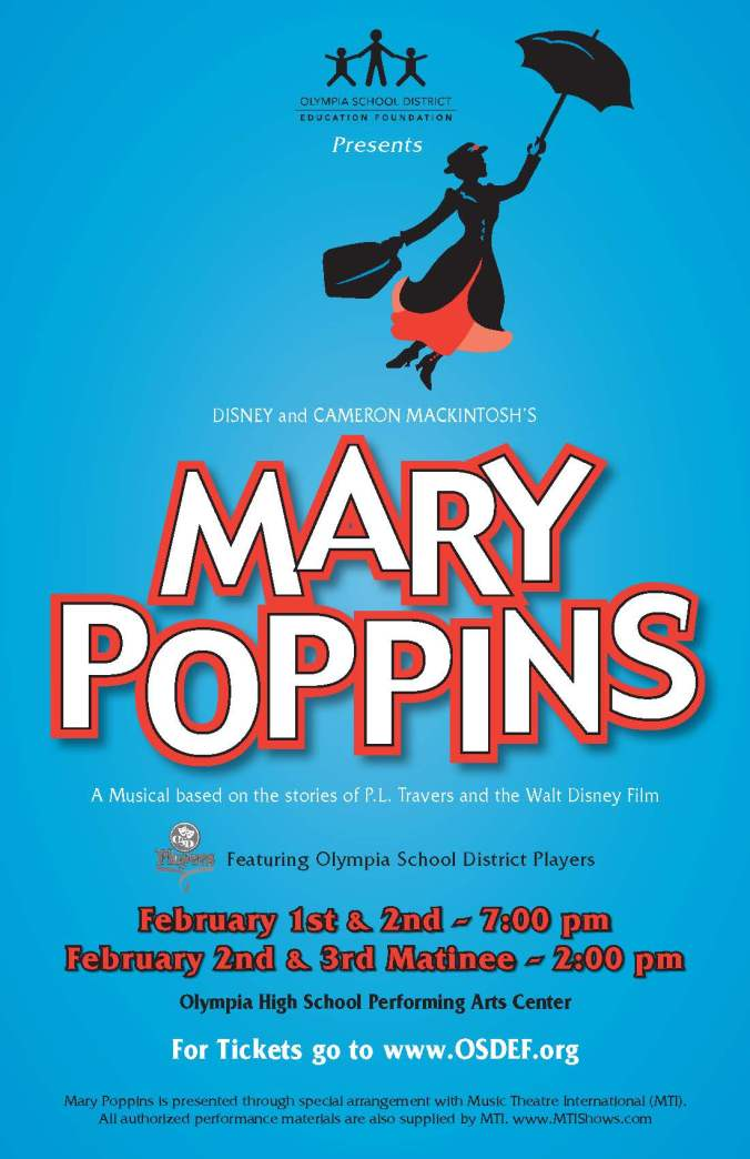 Mary Poppins poster with information included in blog article including showtimes and ticket info