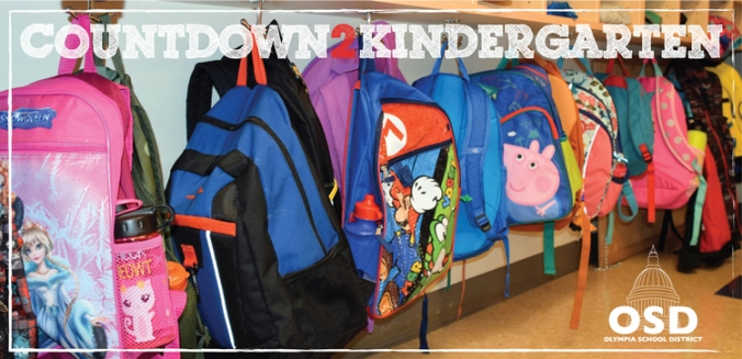 Coundown to Kindergarten poster featuring children's backpacks and OSD logo