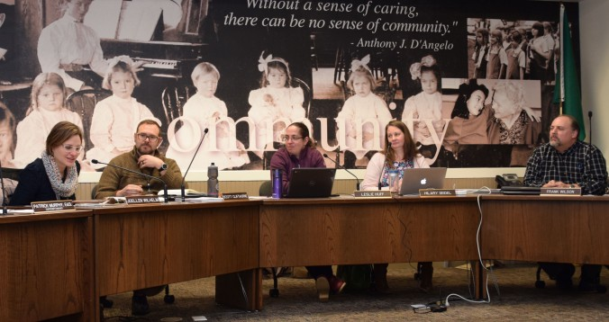 5-member elected OSD Board of Directors during a discussion at a recent school board meeting