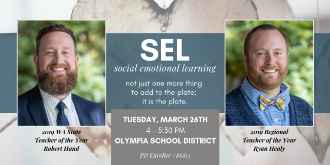 SEL presentation invite for Tuesday March 26 featuring TOY Robert Hand and Ryan Healy. All registration information is in accompanying article.