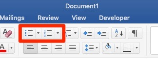 Microsoft Word screenshot. The home ribbon is active and the bulleted and numbered list options are highlighted.