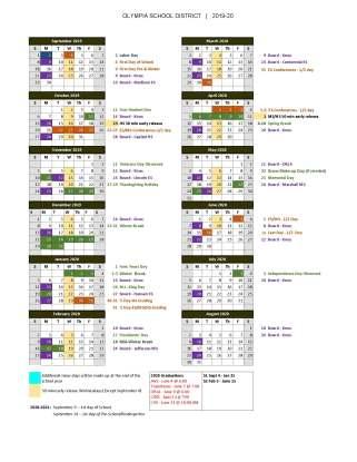 2019-20 one page school year calendar