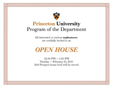 Princeton open house flyer. All event details, including location, attendees and time are included within the image.