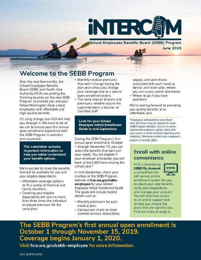 First page of new iNTERCOM newsletter from SEBB